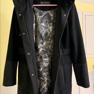 GUESS wool black and gray pea coat Size large